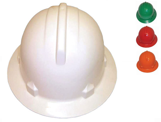 Hard Hat - Safety Polycarbonate 3M HH44 Wide Brim Non-Vented (Type 2) Terrylene Headgear - Green