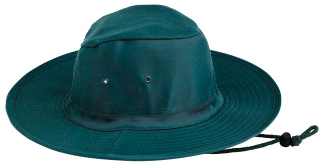 Hat - Poly/Cotton Sun Hat  c/w Toggle Chin Strap Green - S - 55