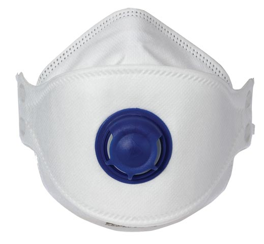Respirator - Disposable P2 ProChoice PCFFP2V Valved Horizontal Flat Fold with Mouldable Foam Nose Piece