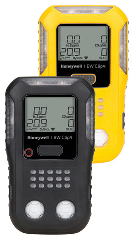 Gas Monitor - BW Clip4 4 Gas Detector %O2/LEL/H2S/CO - Yellow