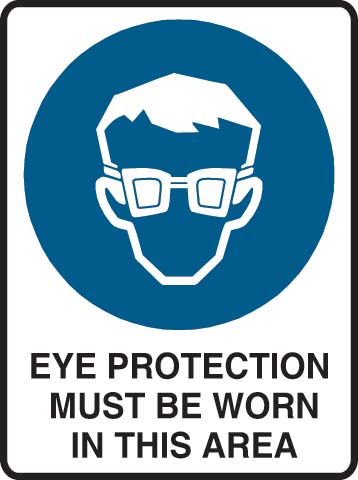 Sign - Metal Mandatory 'Eye Protection Must Be Worn In This Area' 600mm x 450mm
