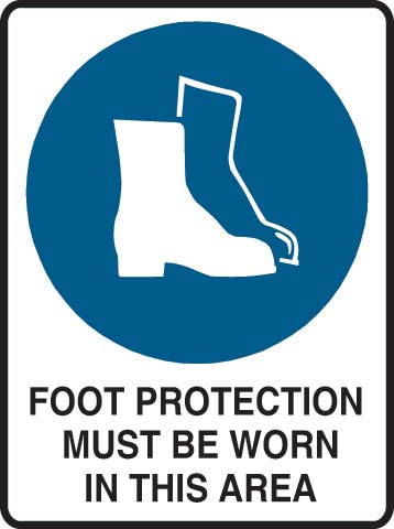 Sign - Metal Mandatory 'Foot Protection Must Be Worn In This Area' 600mm x 450mm