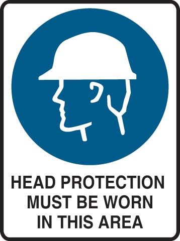 Sign - Metal Mandatory 'Head Protection Must Be Worn In This Area' 600mm x 450mm