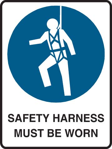 Sign - Metal Mandatory 'Safety Harness Must Be Worn' 600mm x 450mm