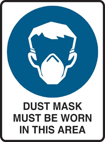 Sign - Metal Mandatory 'Dust Mask Must Be Worn In This Area' 600mm x 450mm
