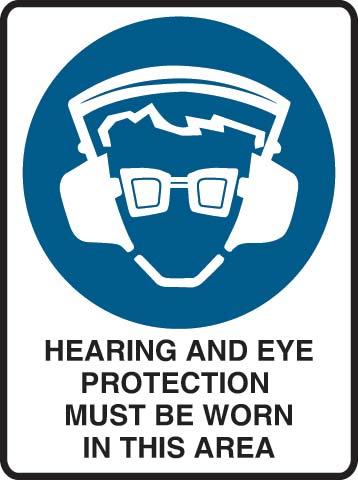 Sign - Metal Mandatory 'Hearing and Eye Protection Must Be Worn In This Area' 450mm x 600mm