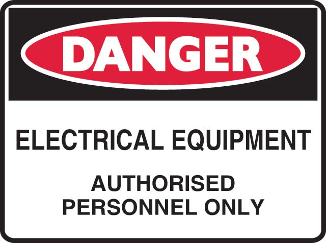Sign - Metal Danger 'Electrical Equipment Authorised Personnel Only' 600mm x 450mm