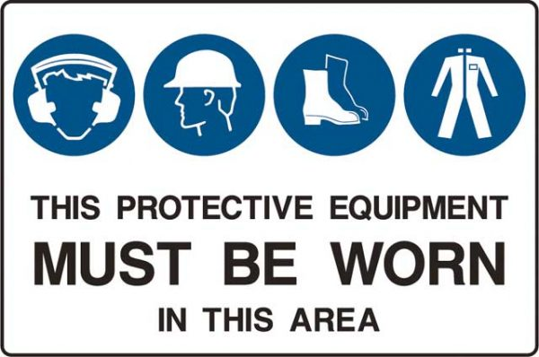 Sign - Metal Mandatory 'This Protective Equipment Must Be Worn In This Area' 600mm x 900mm