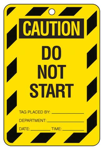 Lockout Tag - Poly Caution 'Do Not Start' Brady 842384 150mm x 100mm