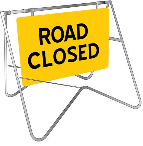 Swing Sign & Stand - Metal CL1 Reflective USS 900mm x 600mm - Road Closed