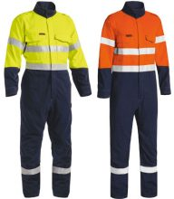 Overall - Flame Resistant Bisley Tecasafe Plus 700 Coverall 237gsm Vented 2 Tone HI VIS D/N c/w Tape Orange/Navy - 77R