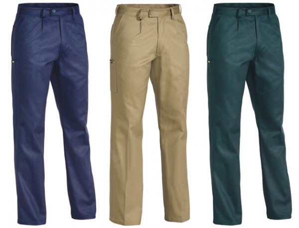 Trouser - Bisley Cotton Drill 310gsm Pleat Front  Green - 74L