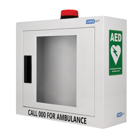 Cabinet - AED Wall Cabinet with Alarm & Flashing Light Australian Resus Council Approved with signage (420mm x 380mm x 150mm)