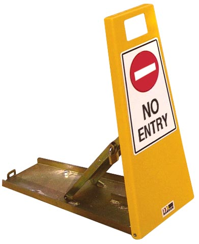 Barrier - Steel LOK-UP Collapsible Access Control c/w No Entry Signage Fixings & Padlock 750mm Yellow