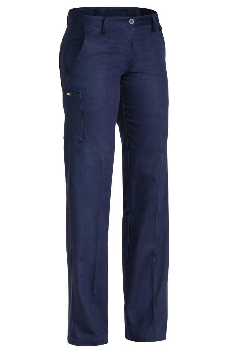 Trouser - Bisley Womens Cotton Drill 310gsm Pleat Front Navy - 06