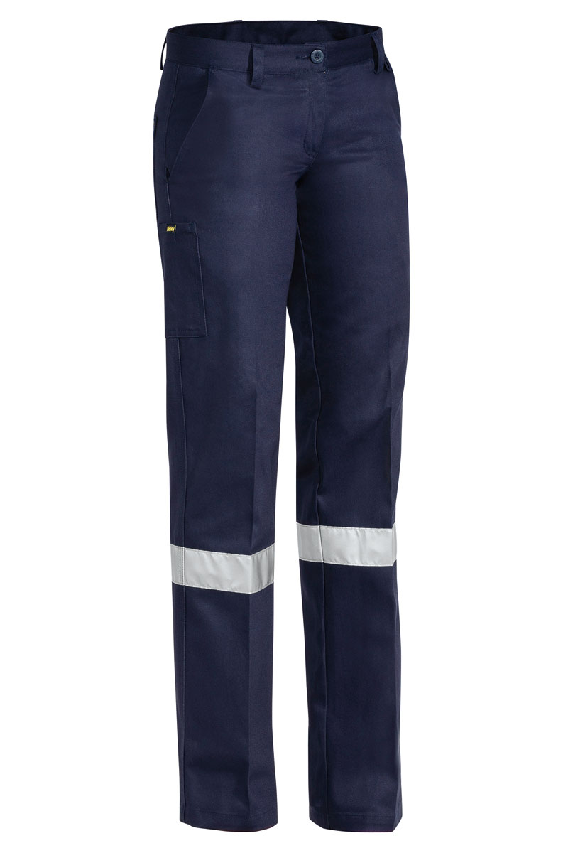 Trouser - Bisley Womens Cotton Drill 310gsm Pleat Front c/w Tape Navy - 6