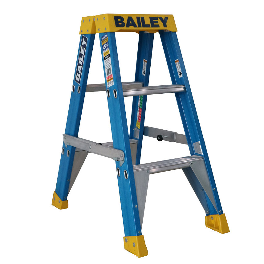 Ladder - Double Sided Fibreglass Bailey Industrial Punchlock 150kg 3-Step 0.9M