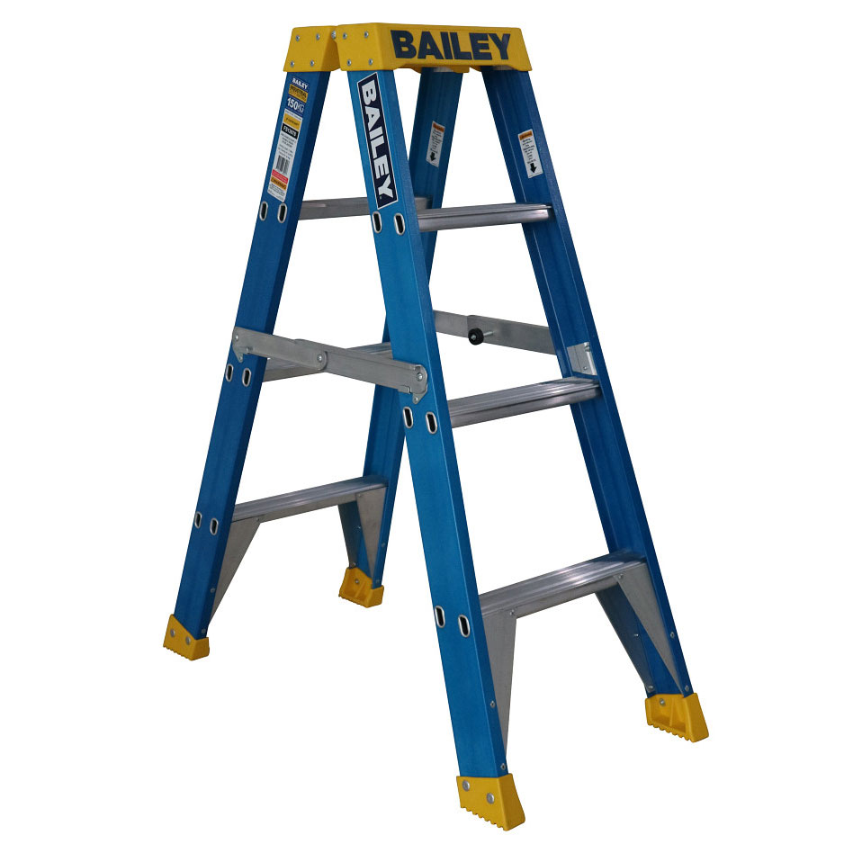 Ladder - Double Sided Fibreglass Bailey Industrial Punchlock 150kg 4-Step 1.2M