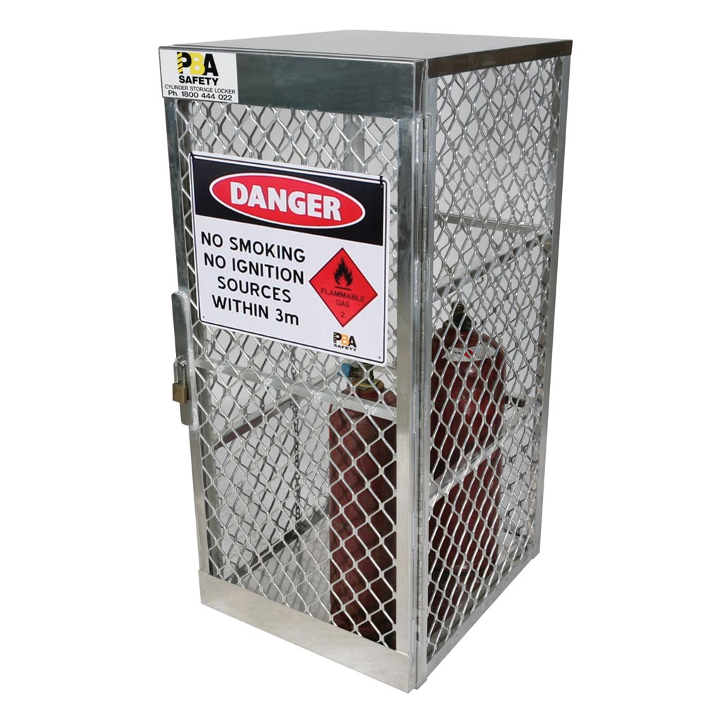 Locker - Compressed Gas Cylinder Vertical Storage Justrite Up to 9 G Cylinders c/w Flammable Gas Signage