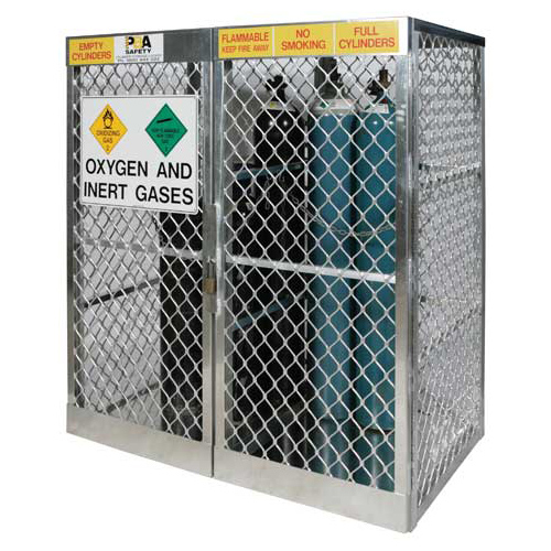 Locker - Compressed Gas Cylinder Vertical Storage Justrite Up to 18 G Cylinders c/w Flammable Gas Signage