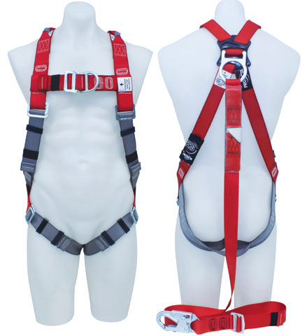 Harness - Riggers 3M Protecta P100 AB126-36L c/w Front/Rear D Rings & Retrieval Points  Incl. Integral Adjustable Lanyard c/w Snap Hook - L