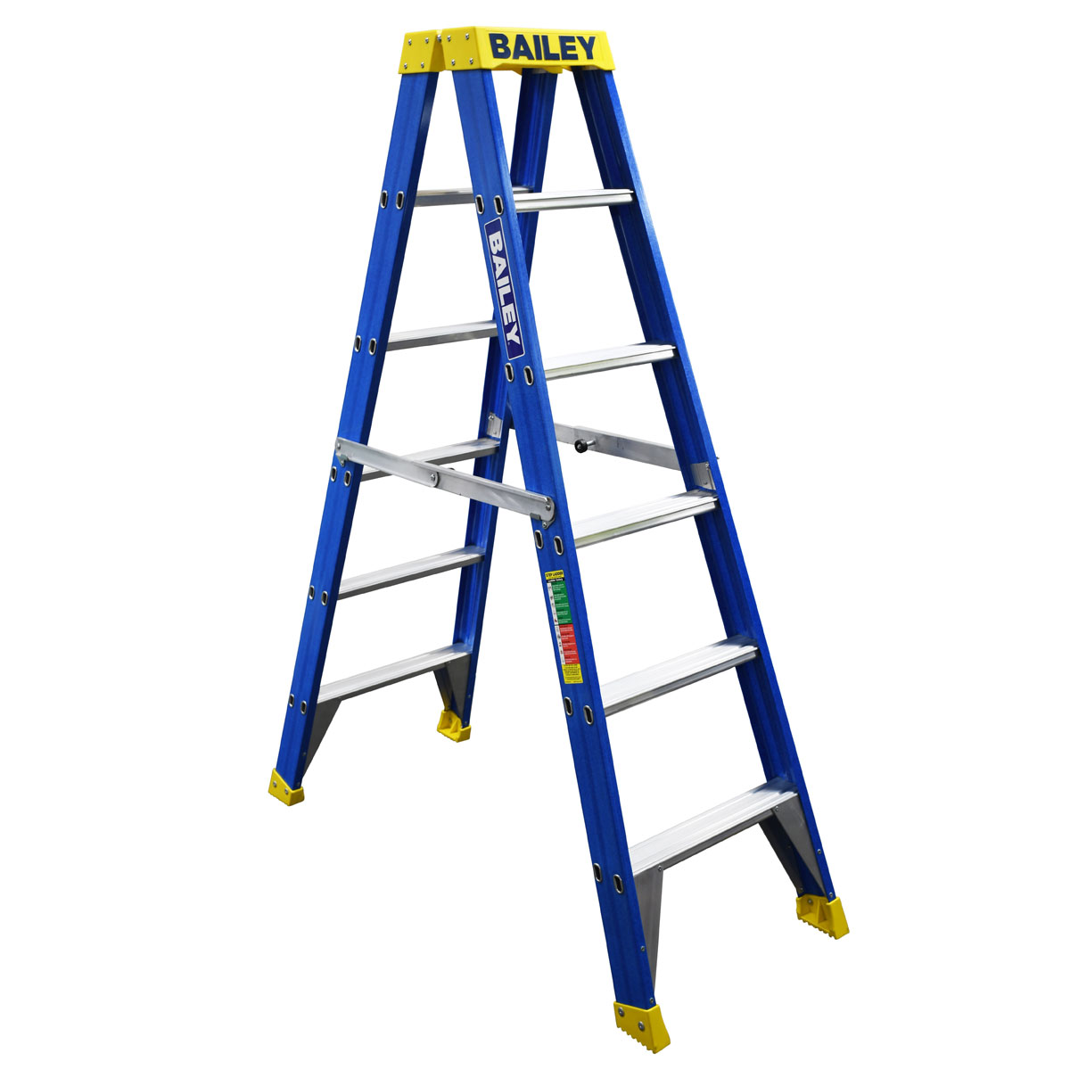 Ladder - Double Sided Fibreglass Bailey Industrial Punchlock 150kg 6-Step 1.8M