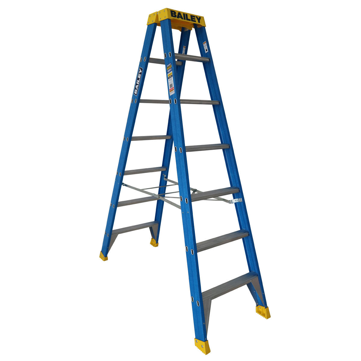 Ladder - Double Sided Fibreglass Bailey Industrial Punchlock 150kg 7-Step 2.1M