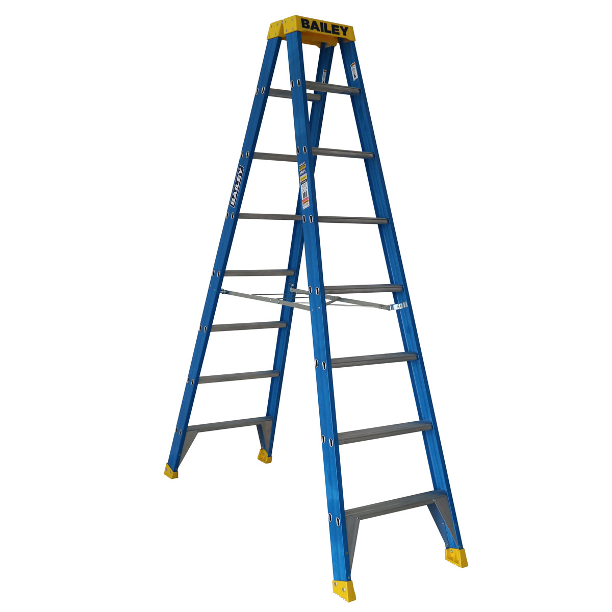 Ladder - Double Sided Fibreglass Bailey Industrial Punchlock 150kg 8-Step 2.4M