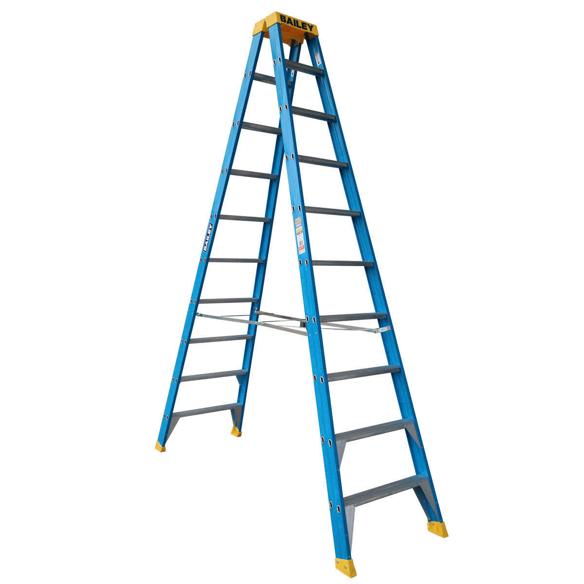 Ladder - Double Sided Fibreglass Bailey Industrial Punchlock 150kg 10-Step 3.0M