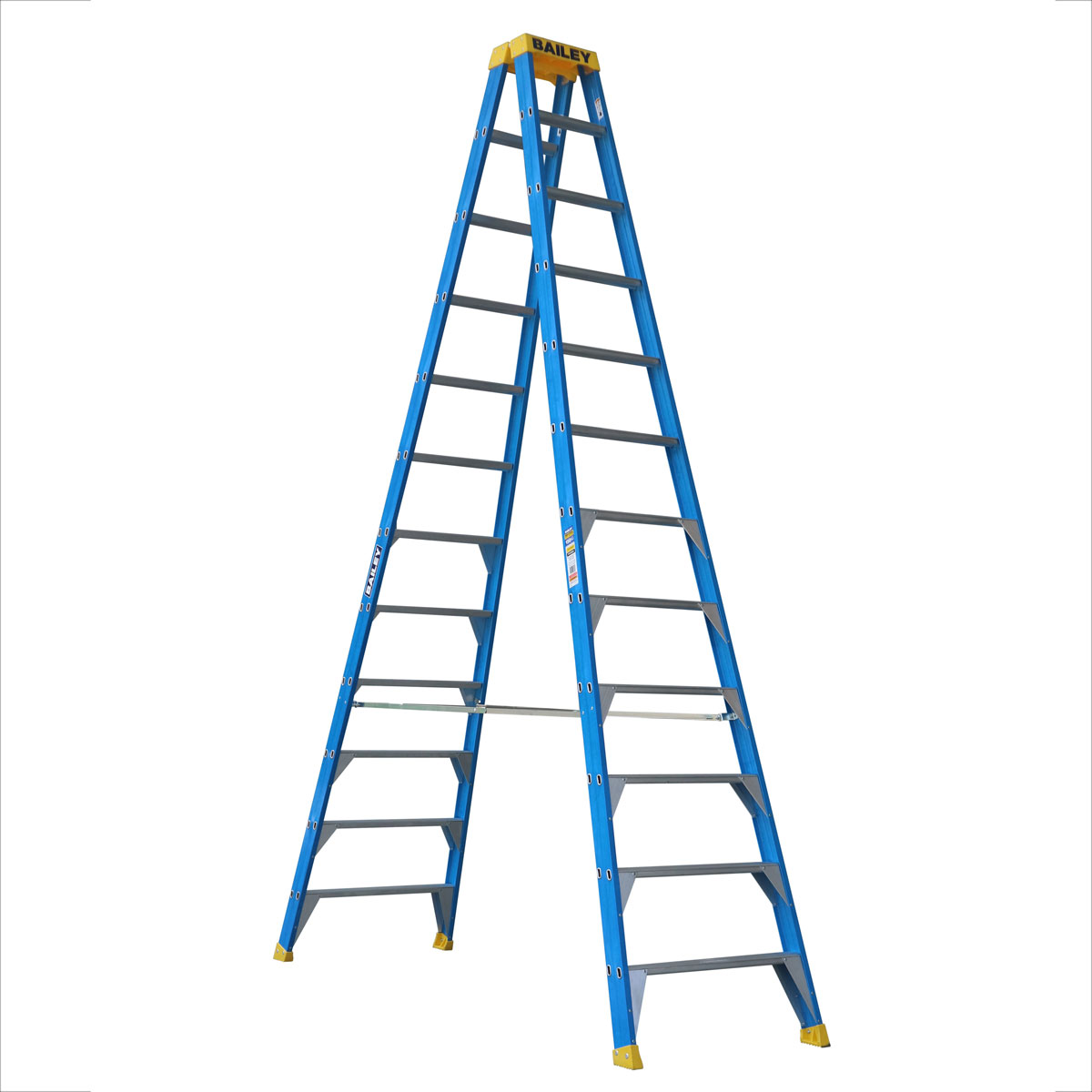 Ladder - Double Sided Fibreglass Bailey Industrial Punchlock 150kg 12-Step 3.6M