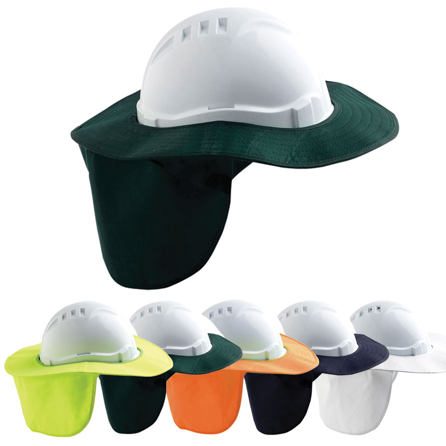 Brim - Hard Hat Style Plastic/Polyester ProChoice Sun Shade Neck Flap and Velcro Fastener - Blue